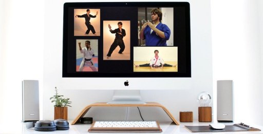 iMac on Desk with Karate Student Thumbnails