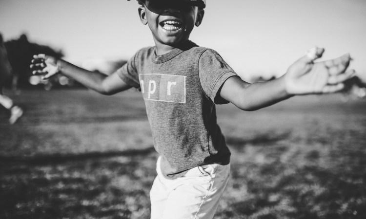 Joyful African American boy