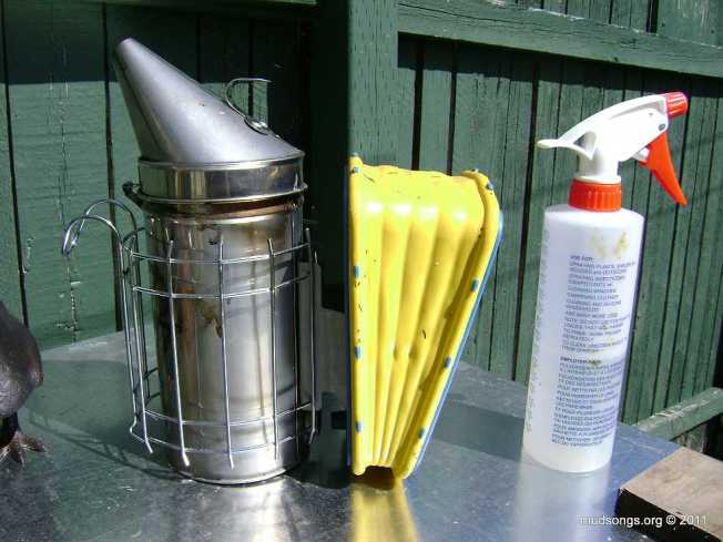 Smoker and a spray bottle for misting down dry sugar. (June 1, 2011).