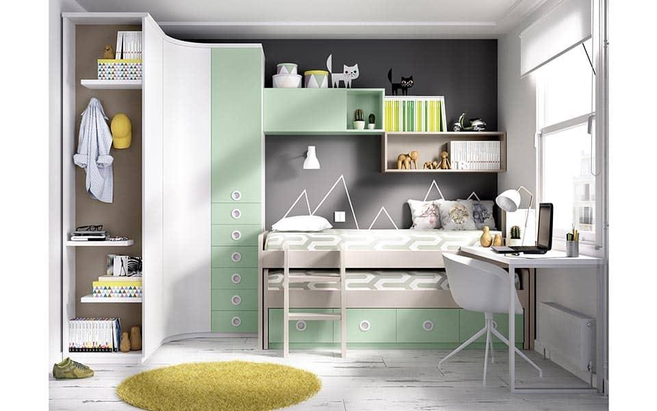 Habitación Juvenil con cama compacta doble en color gris, blanco y verde