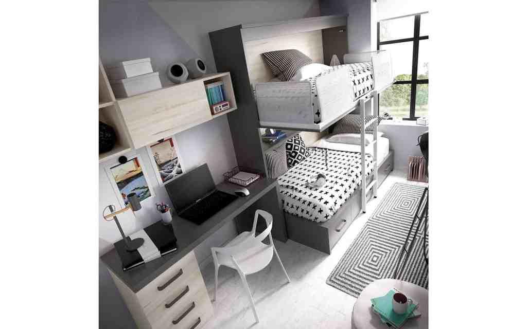 Habitación juvenil con cama inferior block y superior abatible abierta