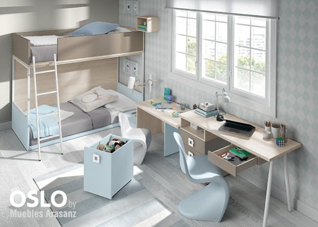 Habitación infantil con literas en gris y azul