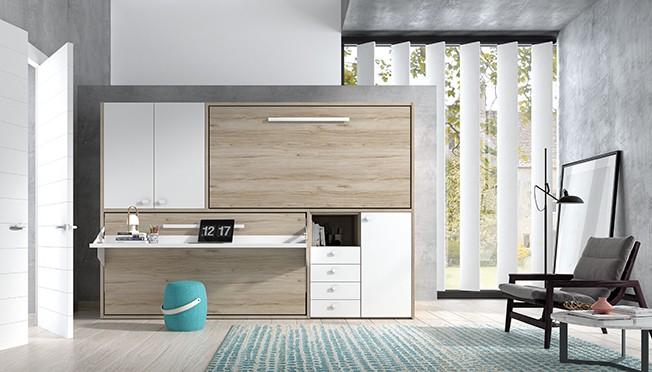 Habitación juvenil con dos camas abatibles cerradas en madera y blanco