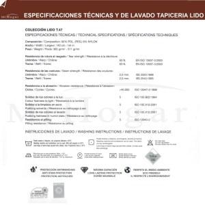 especificaciones tecnicas y de lavado de tapiceria lido