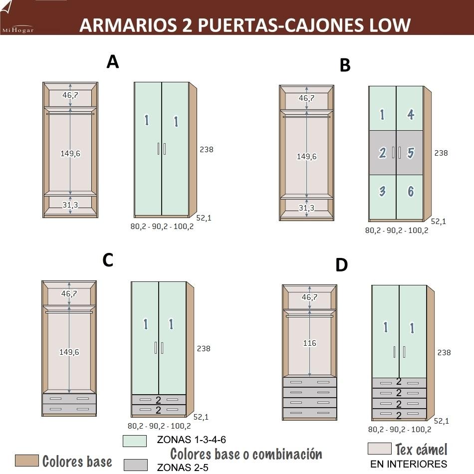 MEDIDAS ARMARIO 2 PUERTAS-CAJONES LOW