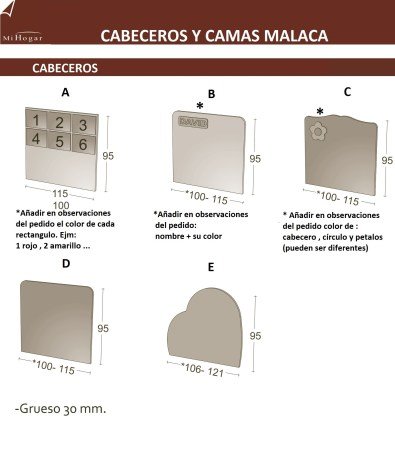 MEDIDAS CABECEROS INFANTILES MALACA SOMIER ARRASTRE ELEVABLE