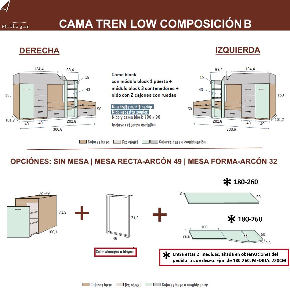 MEDIDAS CAMAS TREN COMPOSICION B DORMITORIO JUVENIL LOW