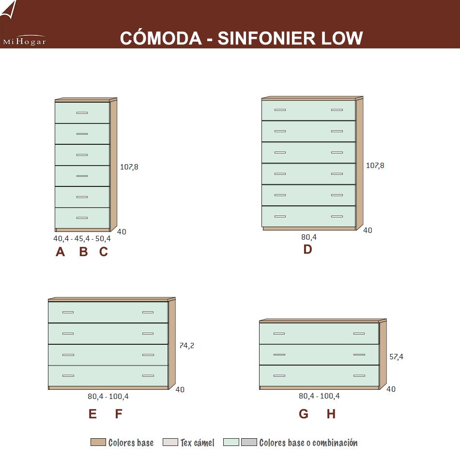 técnico medidas sinfonier - cómoda dormitorio juvenil low
