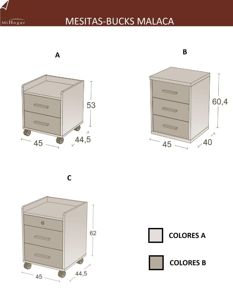 técnico medidas mesita dormitorio infantil malaca