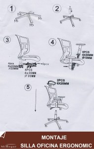 montaje silla oficina ergonomic lumbar reposacabezas