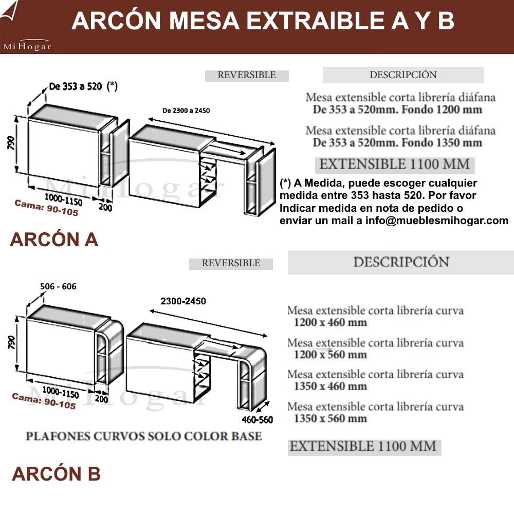 ARCON MESA CON 2 BALDAS EXTRAIBLES MOX A Y B