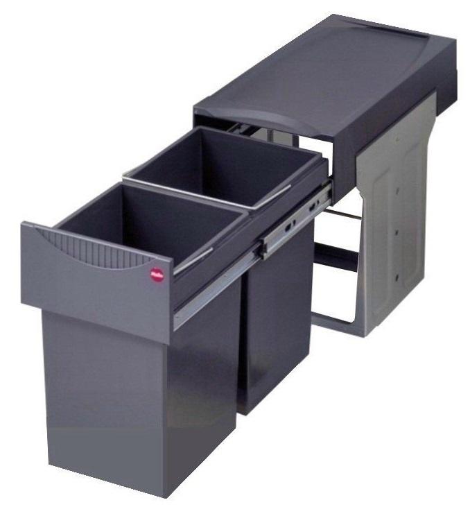 Hailo Einbaumülleimer mit 30 L - Auszug Mülleimer grau_