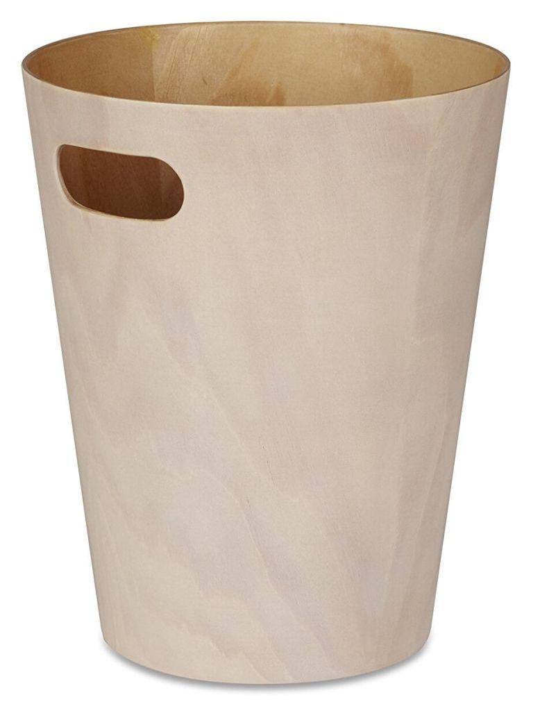 Umbra Woodrow Abfalleimer – Zweifarbiger Holz Papierkorb für Büro, Badezimmer, Wohnzimmer und Mehr, 7,5l Fassungsvermögen
