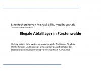 illegale Abfalllager in Fürstenwalde 2018 – Vortrag und Dokumente