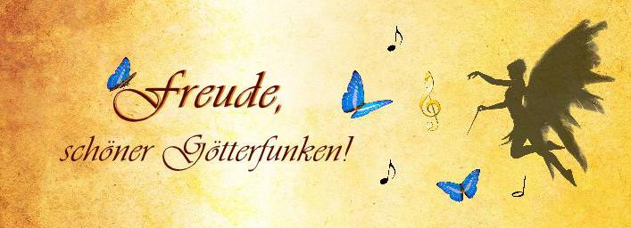 """Schriftzug """"Freude, schöner Götterfunken"""". Ein Mädchen mit Flügeln dirigiert blaue Schmetterlinge"""