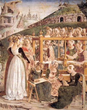 Francesco_del_Cossa_-_Allegory_of_March_-_Triumph_of_Minerva_(detail)