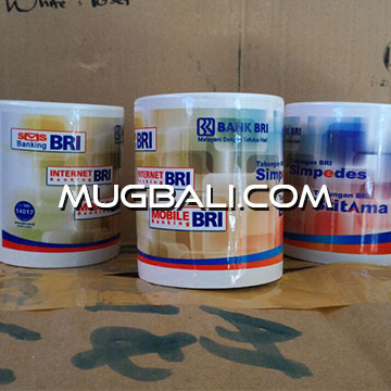 Contoh cetak mug pesanan Bank BRI Denpasar Bali