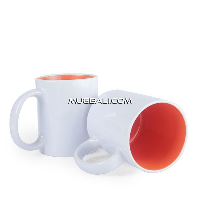 cetak mug promosi bahan keramik putih dalam Orange