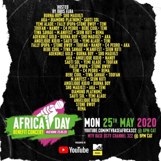 """Bebe Cool, Sean Paul, Nasty C, Teni, Sho Madjozi and more to perform in the """"Africa Day"""" Benefit Concert At Home. 3 MUGIBSON WRITES"""