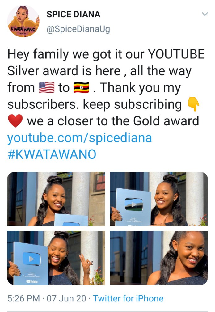 Spice Diana Receives YouTube Silver Award After Garnering 100K Subscribers 3 MUGIBSON