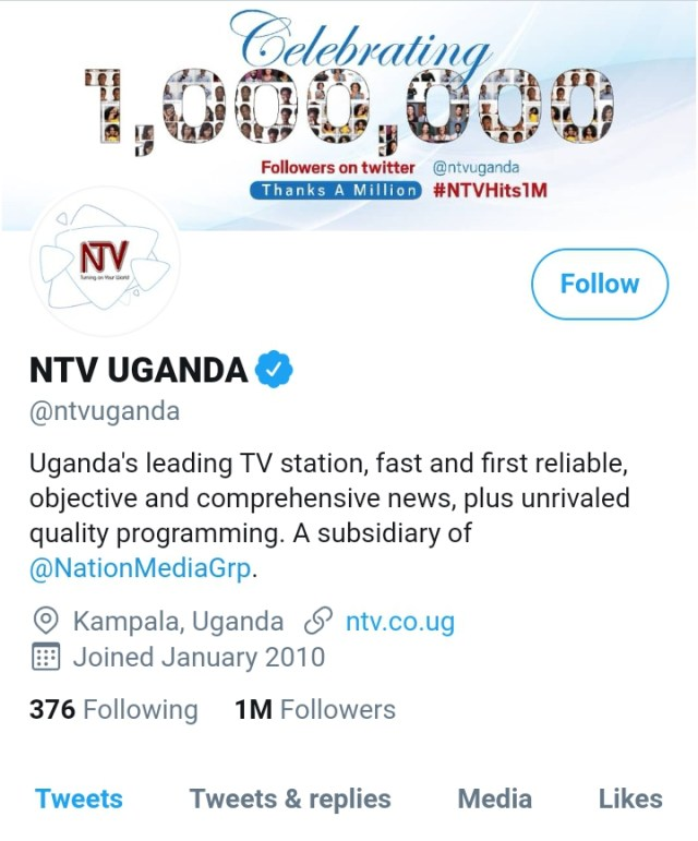 NTV Uganda Hits 1 Million Followers on Twitter 3 MUGIBSON WRITES
