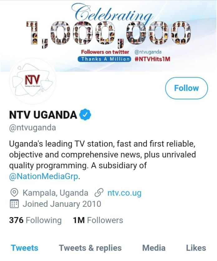 NTV Uganda Hits 1 Million Followers on Twitter 2 MUGIBSON
