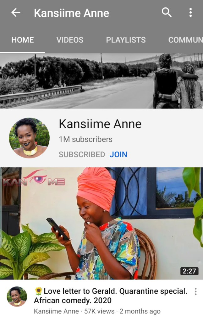 Ugandan Comedy queen Ann Kansiime Hits the 1 Million Subscriber count on YouTube 1 MUGIBSON