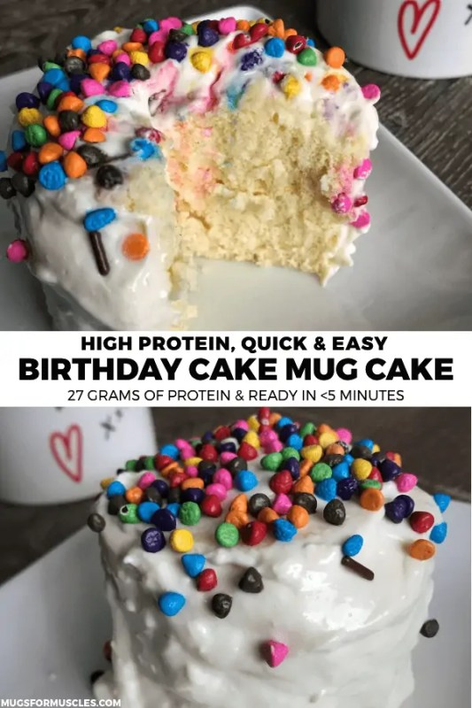 A super easy birthday microwave cake recipe with 27 grams of protein that's perfect for both your birthday and the other 364 days of the year.