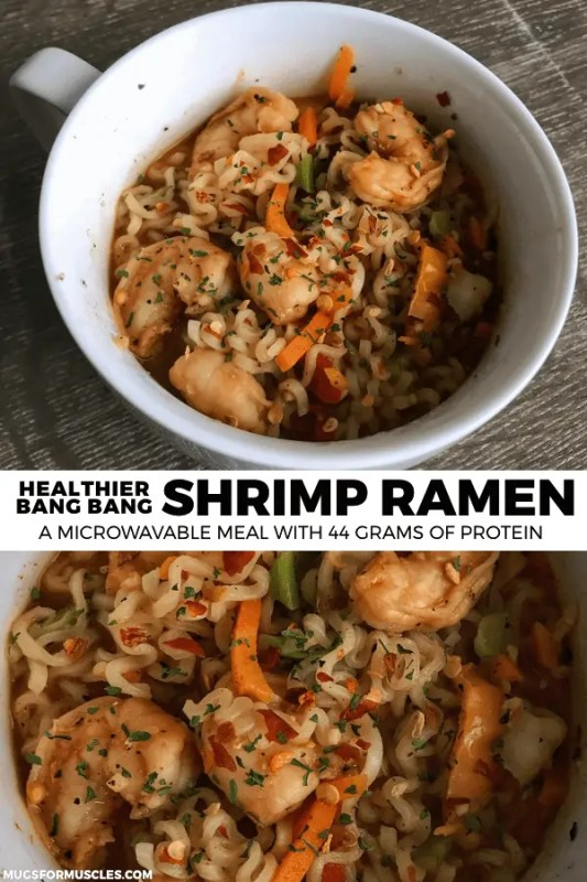 This microwavable Bang Bang Shrimp Ramen packs 44 grams of protein and tons of flavor into one bowl. If you like simple, you'll love this recipe.