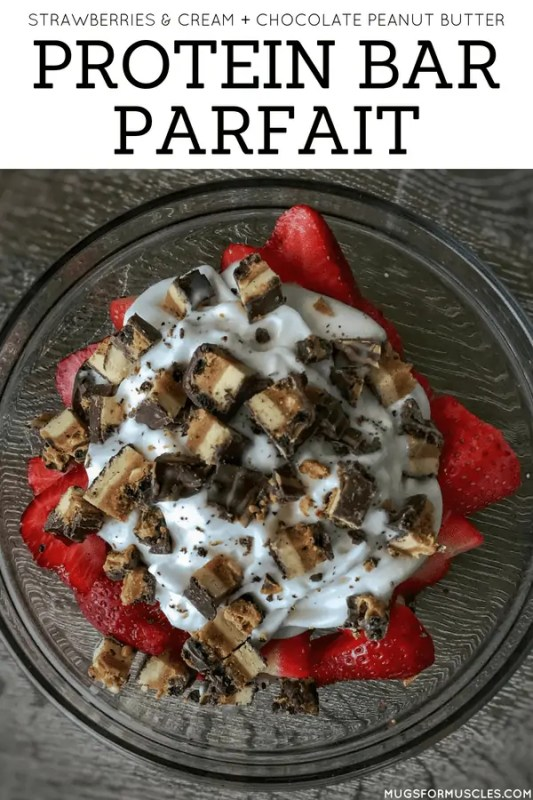 A protein bar parfait with strawberries, bulked up Greek yogurt, whipped cream, and your favorite protein bar. It's a super easy and nutritious sweets fix.