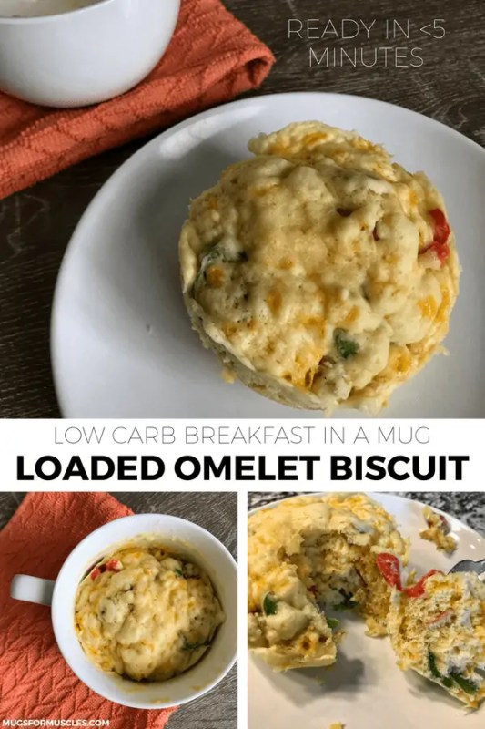 You'll love this low carb breakfast recipe that combines a loaded omelet with peppers, onions, bacon, and cheese with a fluffy, savory biscuit.