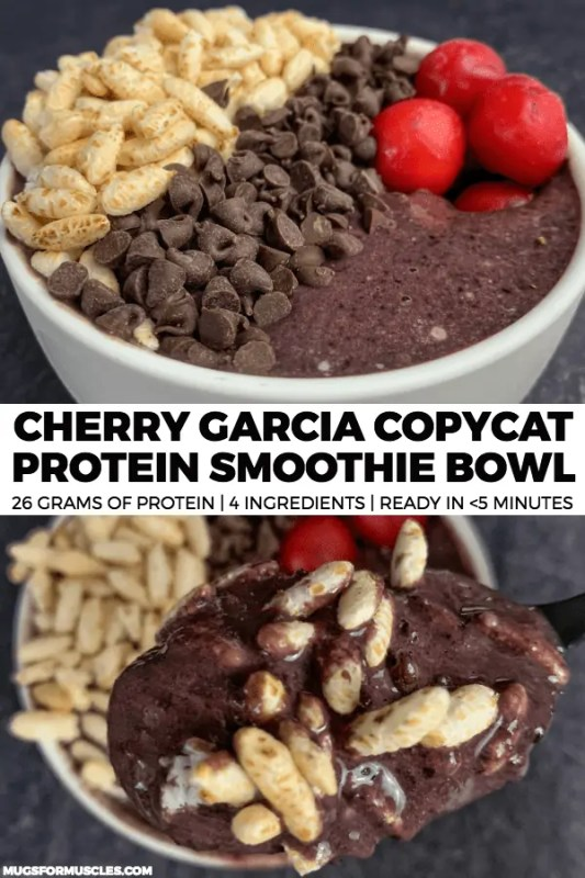 Curb your sweet tooth in minutes with this 4-ingredient Cherry Garcia inspired protein smoothie bowl with 26 grams of protein and only 285 calories.