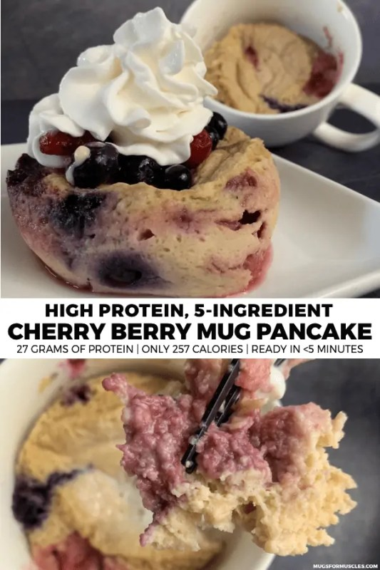 Want pancakes in a hurry? This cherry berry mug pancake has 27 grams of protein, only 257 calories, and is ready in 5 minutes!