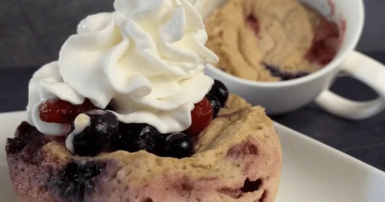 High Protein Cherry Berry Mug Pancake