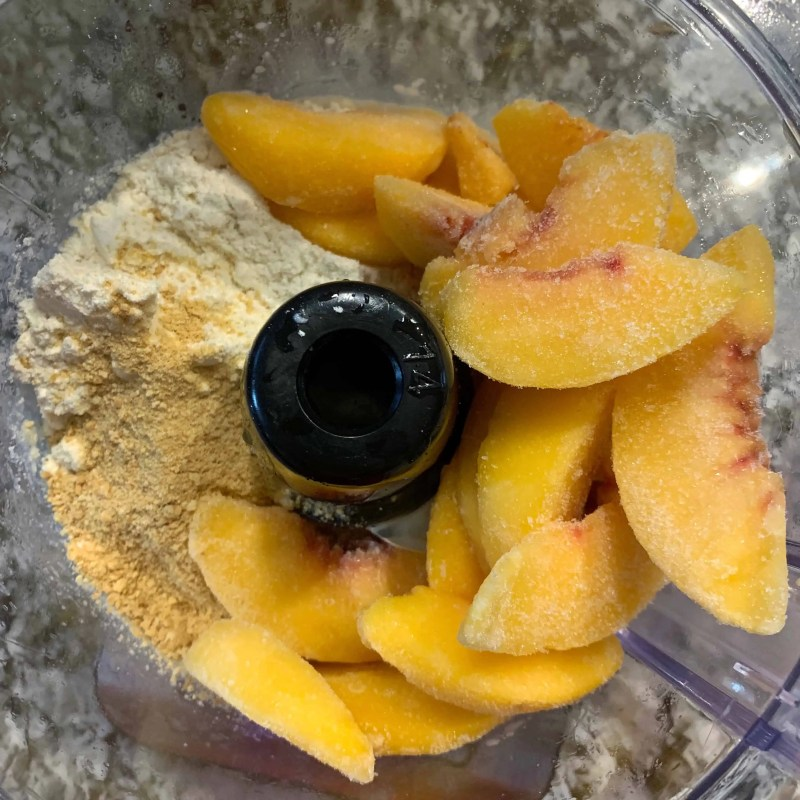 peach cobbler protein ice cream in food processor