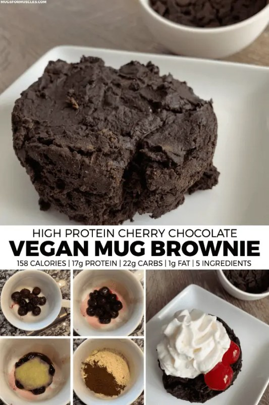 You're going to love this 5-ingredient, high protein vegan mug brownie made with frozen cherries, vegan protein powder, cocoa powder, coconut flour, and unsweetened apple sauce.