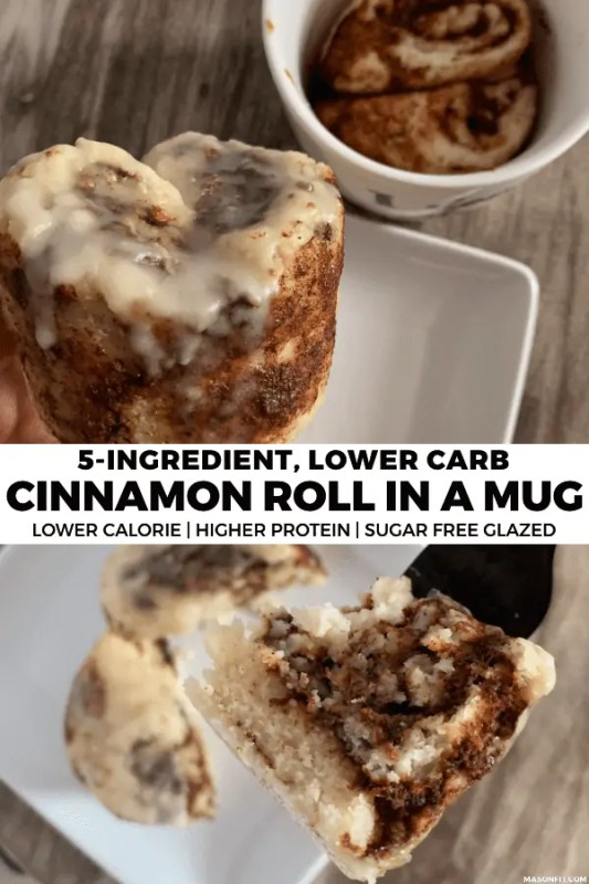 This GIANT cinnamon roll in a mug is going to blow your mind! It uses a 2-ingredient dough and 3-ingredient cinnamon sugar spread to create a simple, lower carb, lower calorie cinnamon roll fix.