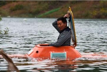 A chicken farmer makes a homemade submarine