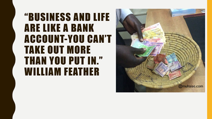 Inspirational quote on returns from life
