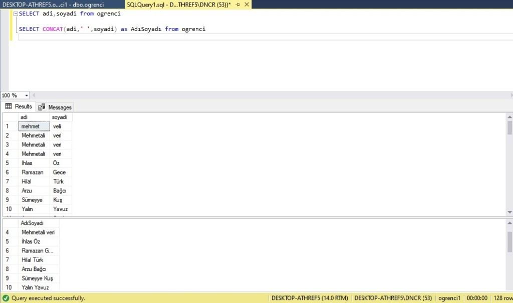 veri tabanı metin birleştirme -concat- kullanımı ekran çıktısı