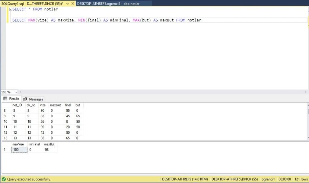 Veritabanı Minimum ve maksimum sayıyı bulma örnek ekran çıktısı