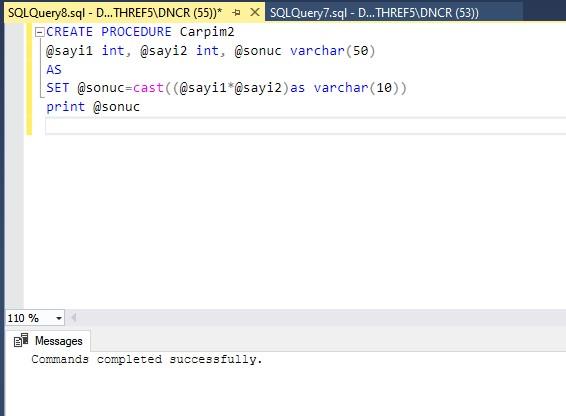veritabanı stored procedure örneği ekran çıktısı