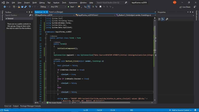 C# form kayıt formu kodları