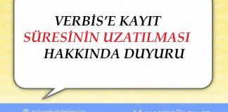 VERBİS'E KAYIT SÜRESİNİN UZATILMASI HAKKINDA DUYURU