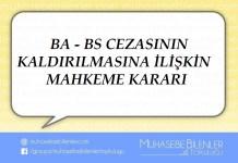 BA - BS CEZASININ KALDIRILMASINA İLİŞKİN MAHKEME KARARI