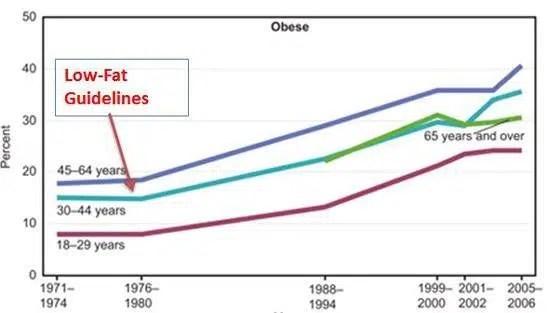 4. El aumento de la obesidad coincide con la publicación de guías de alimentación baja en grasa