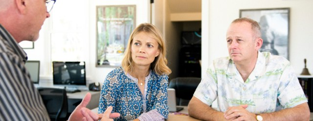 Teacher speaking with parents
