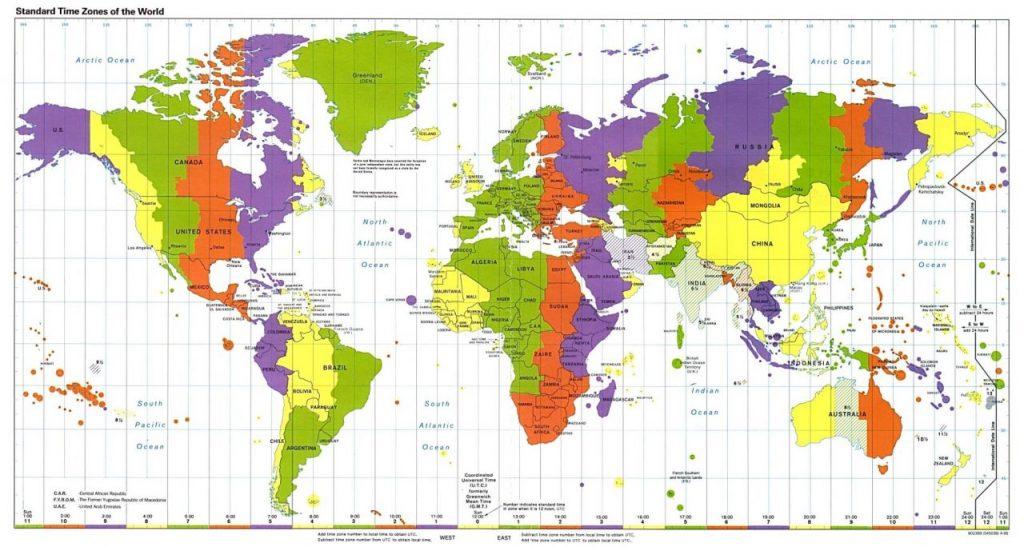 Tijdzone kaart