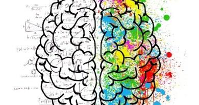 Na obrázku jsou nakresleny levá a pravá hemisféra mozku. Levá je bílá a pokrytá matematickými obrazci, pravá je plná barev.