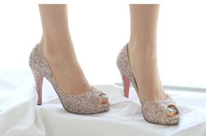 Venta En Línea Tacones De Escarcha Lavanda Con Soles Cristal Zapatos Novia